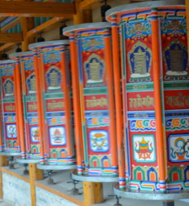 Prayer wheels at Labrang